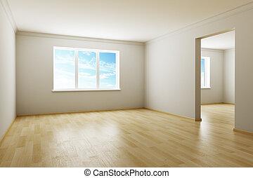 új, szoba, üres