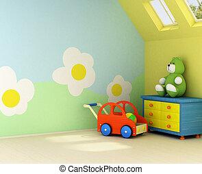 új, szoba, csecsemő