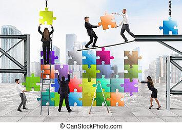 új, társaság, befog, businesspeople, épít