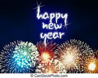 új, tűzijáték, boldog, tűzijáték, év