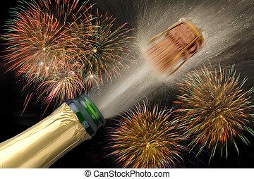 új, tűzijáték, pezsgő, év