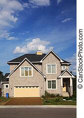új, two-storied, nyersgyapjúszínű bezs, megkövez villaház, noha, sárga, garázs, és, barna, roof.