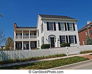 új, two-story, fehér, otthon, noha, kerítés