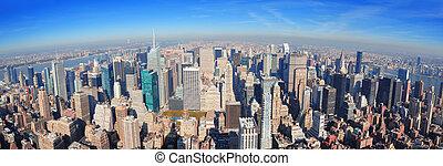új, város, felhőkarcoló, york