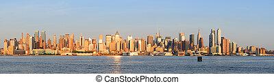 új, város, napnyugta, manhattan, york