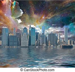 új, város, york, képzelet