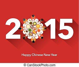 új, vacsora, év, kínai, újraegyesítés