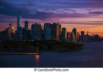 új york égvonal, napkelte