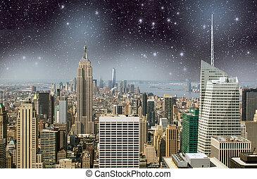 új, york., manhattan égvonal, éjjel