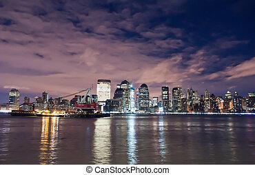 új york város égvonal, éjjel, állati tüdő, midtown manhattan