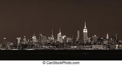 új york város égvonal, éjjel