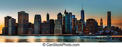 új york város égvonal, panoráma