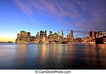 új york város, alacsonyabb manhattan, -ban, szürkület