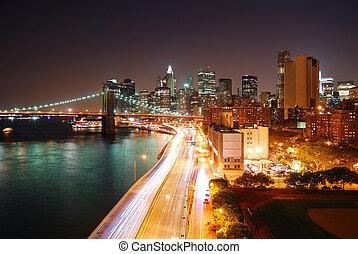 új york város, elfoglalt, forgalom