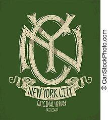 új york város, grunge, póló, nyomtat, tervezés