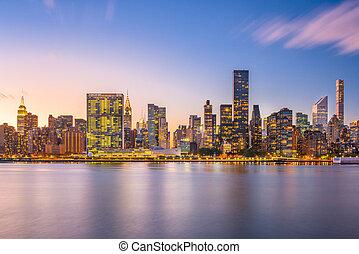 új york város, kelet folyó, láthatár