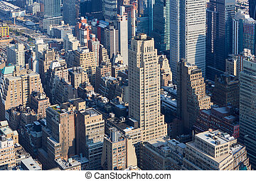 új york város, manhattan égvonal, felülnézet, alatt, a, reggel, napvilág