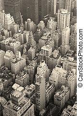 új york város, manhattan égvonal, felülnézet, fekete-fehér