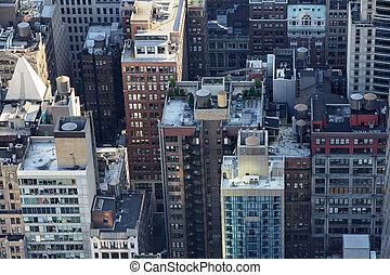 új york város, manhattan égvonal, felülnézet, noha, felhőkarcoló, tető, tető