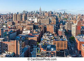 új york város, manhattan égvonal, felülnézet, noha, utca, és, felhőkarcoló