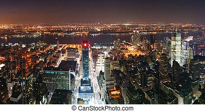 új york város, manhattan égvonal, felülnézet, panoráma, -ban, napnyugta