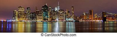új york város, manhattan épület, láthatár, éjszaka, este