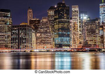 új york város, manhattan at éjszaka