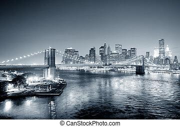 új york város, manhattan, belvárosi, fekete-fehér
