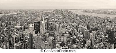 új york város, manhattan, belvárosi, láthatár, fekete-fehér
