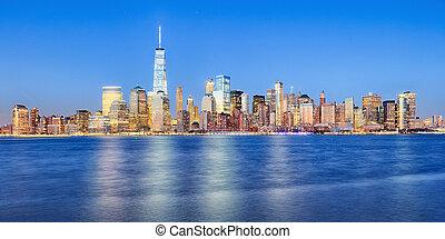 új york város, manhattan, belvárosi, láthatár, noha, felhőkarcoló, beleértve, a, egy, világ passzátszelek összpontosít