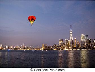 új york város, manhattan, belvárosi, láthatár