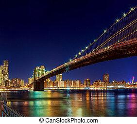 új york város, manhattan bridzs, felett, hudson folyó, noha, láthatár, után, napnyugta, éjszaka, kilátás, megvilágít