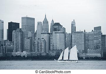 új york város, manhattan, fekete-fehér