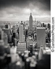 új york város, manhattan, midtown, felülnézet