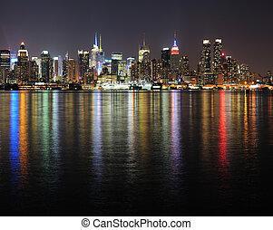 új york város, manhattan, midtown, láthatár, éjjel