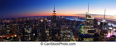 új york város, manhattan, napnyugta, panoráma