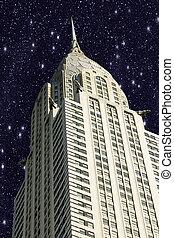 új york város, manhattan, noha, csillaggal díszít, alatt, a, ég