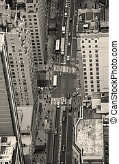 új york város, manhattan, utca, felülnézet, fekete-fehér