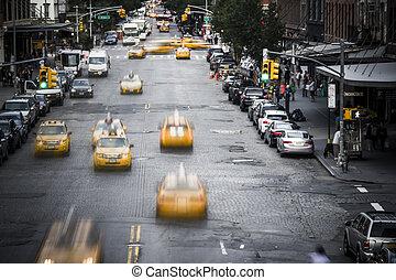 új york város, sárga taxi, utca, sc