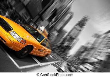 új york város taxi, elhomályosít, összpontosít, indítvány, időmegállapítás derékszögben