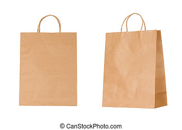újra feldolgozható, papír táska, elszigetelt, white, háttér