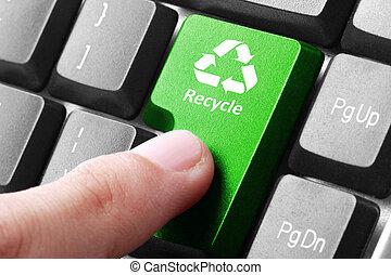 újra hasznosít, gombol, zöld, billentyűzet