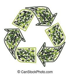 újra hasznosít jelkép, vektor, zöld