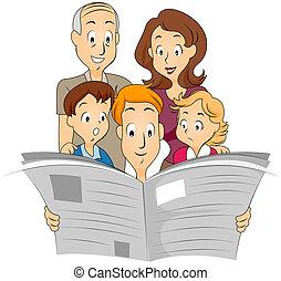 újság, család