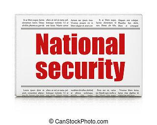 újság főcím, biztonság, nemzeti, concept:
