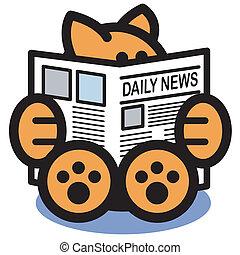 újság, felolvasás, művészet, csíptet, macska