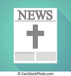 újság, keresztény, árnyék, hosszú, kereszt