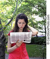 újság, leány, felolvas