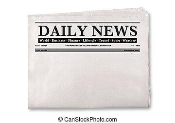 újság, napi, tiszta
