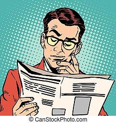 újság, portré, felolvasás, avatar, ember